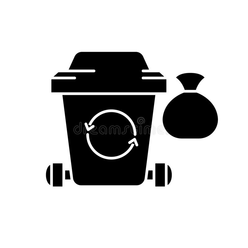 Garbage black icon, vector sign on isolated background. Garbage concept symbol, illustration royalty free illustration