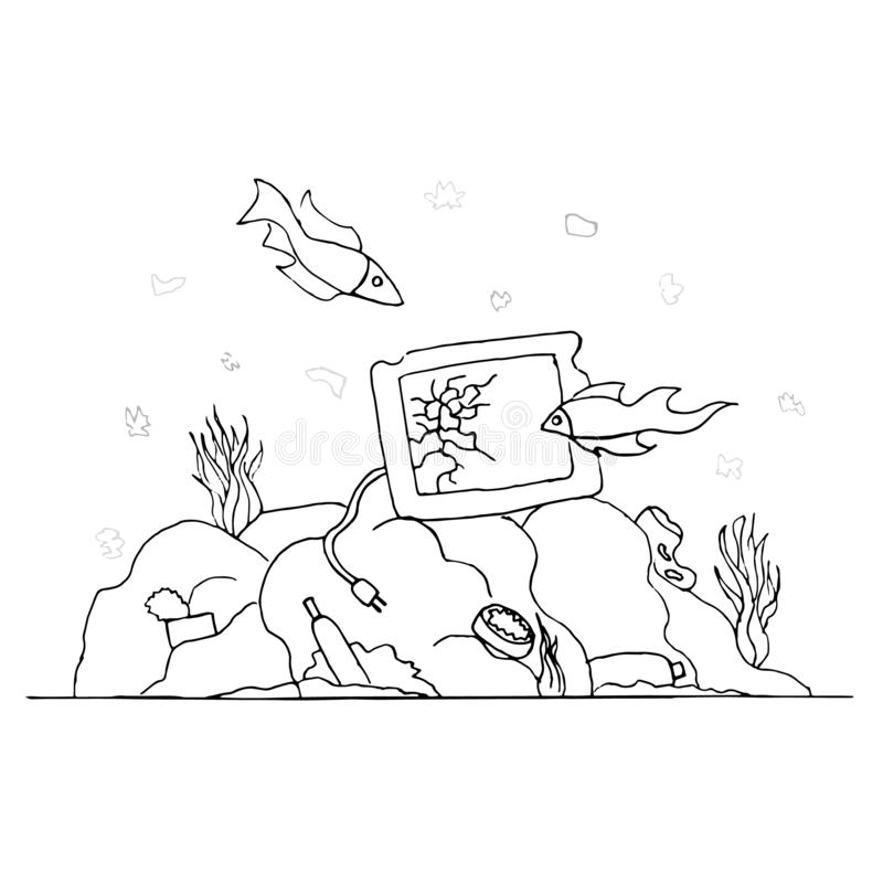 Garbage at the bottom of the sea. Past the broken TV fish swim. Environmental protection. Zero waste. Problem of ecology royalty free illustration