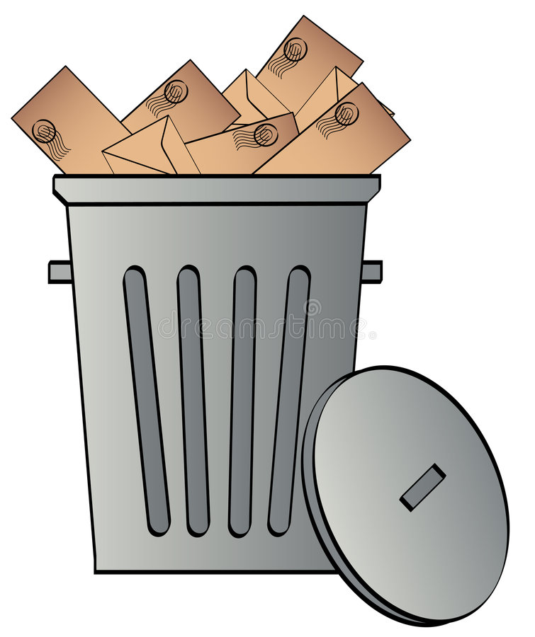 Download Garbage can with envelopes stock vector. Image of advert - 4746524