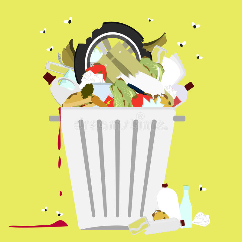 Garbage can full of trash royalty free illustration