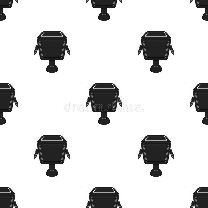 Garbage can icon in black style isolated on white background. Parkpattern stock vector illustration. stock illustration