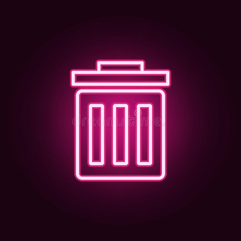 garbage can icon. Elements of web in neon style icons. Simple icon for websites, web design, mobile app, info graphics vector illustration
