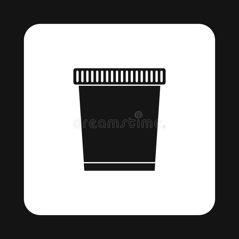 Garbage can icon, simple style. Garbage can icon in simple style isolated on white background. Sanitation symbol stock illustration