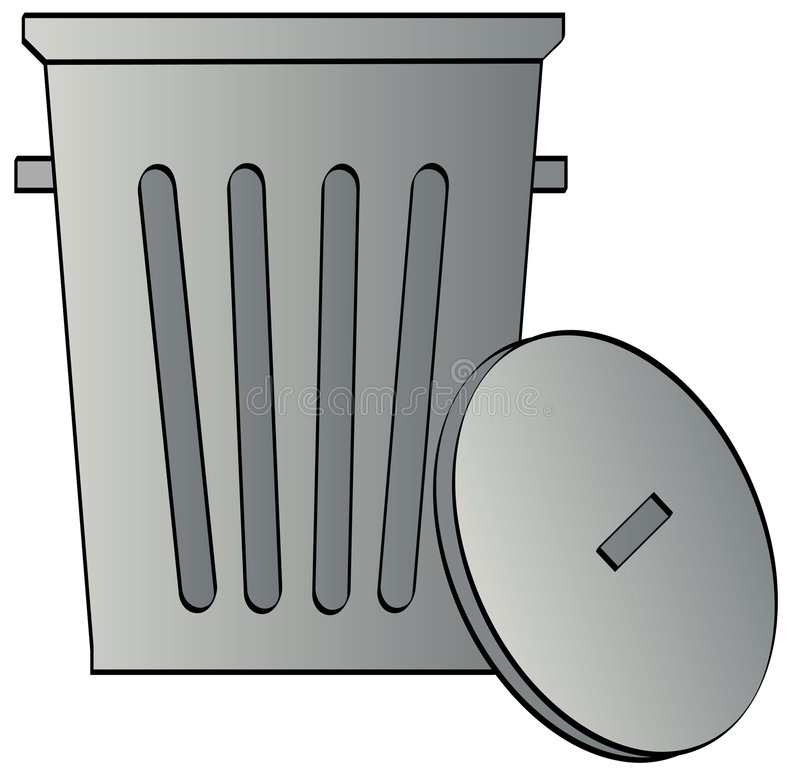 Garbage can with lid. Metal galvanized garbage can with lid - vector royalty free illustration