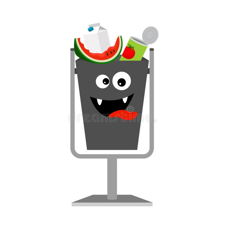 Garbage can with organic trash royalty free illustration