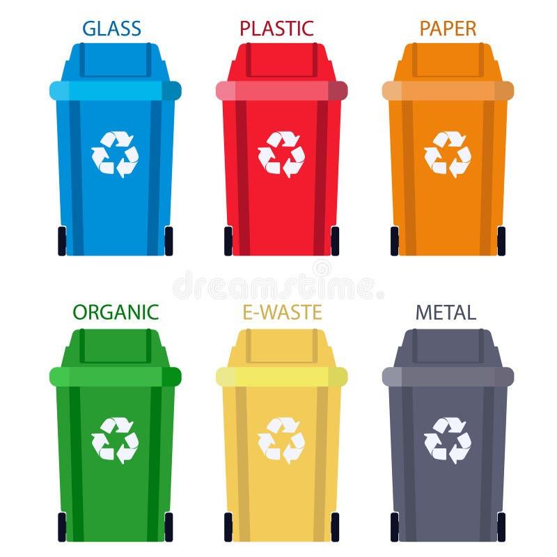 Garbage can Separation of waste. Disposal refuse rubbish bin. vector. Garbage can Separation of waste. Disposal refuse rubbish bin. Different Colored wheelie vector illustration