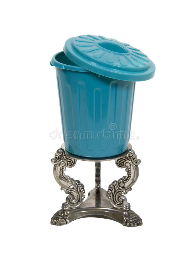 Download Garbage Can On Silver Pedestal Stock Photo - Image: 10643614