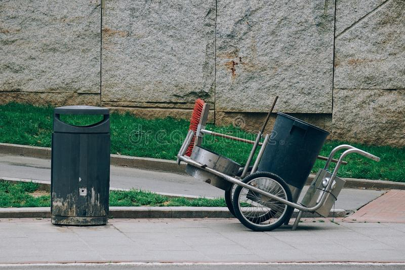 Garbage can in the street. Garbage can for cleaning the street royalty free stock images