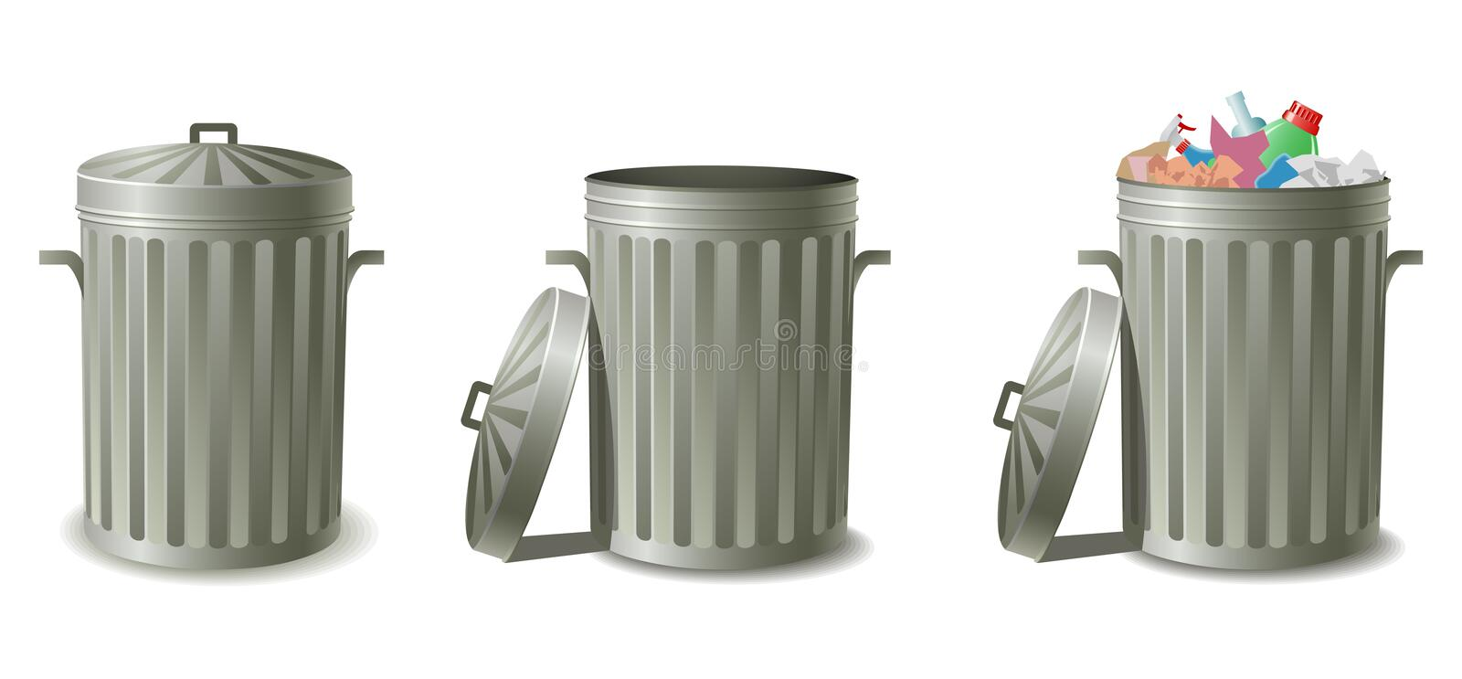 Garbage cans royalty free illustration