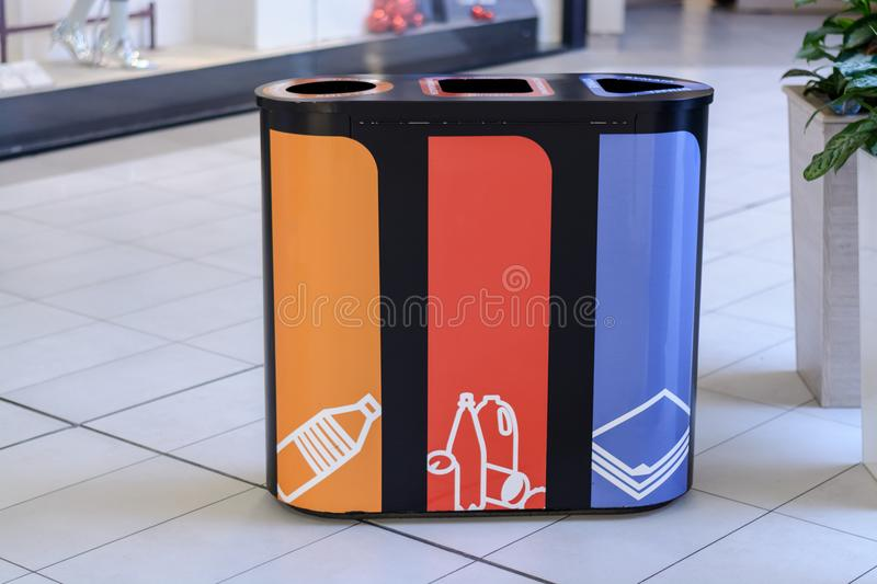 Garbage cans-separate collection for recycling-nature conservation. royalty free stock photo