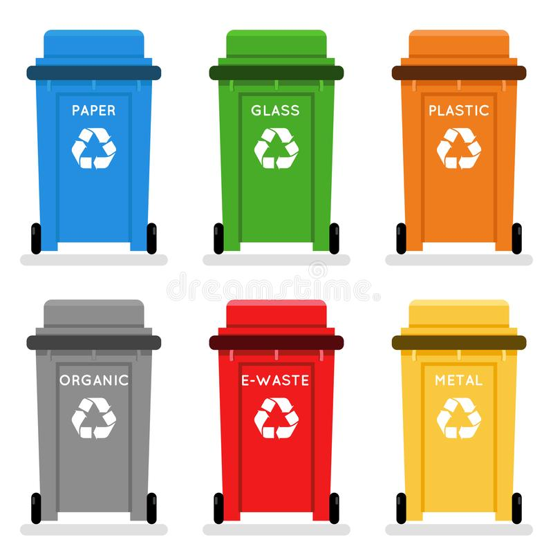 Garbage cans trash separation recycling isolated flat design icons set vector illustration vector illustration