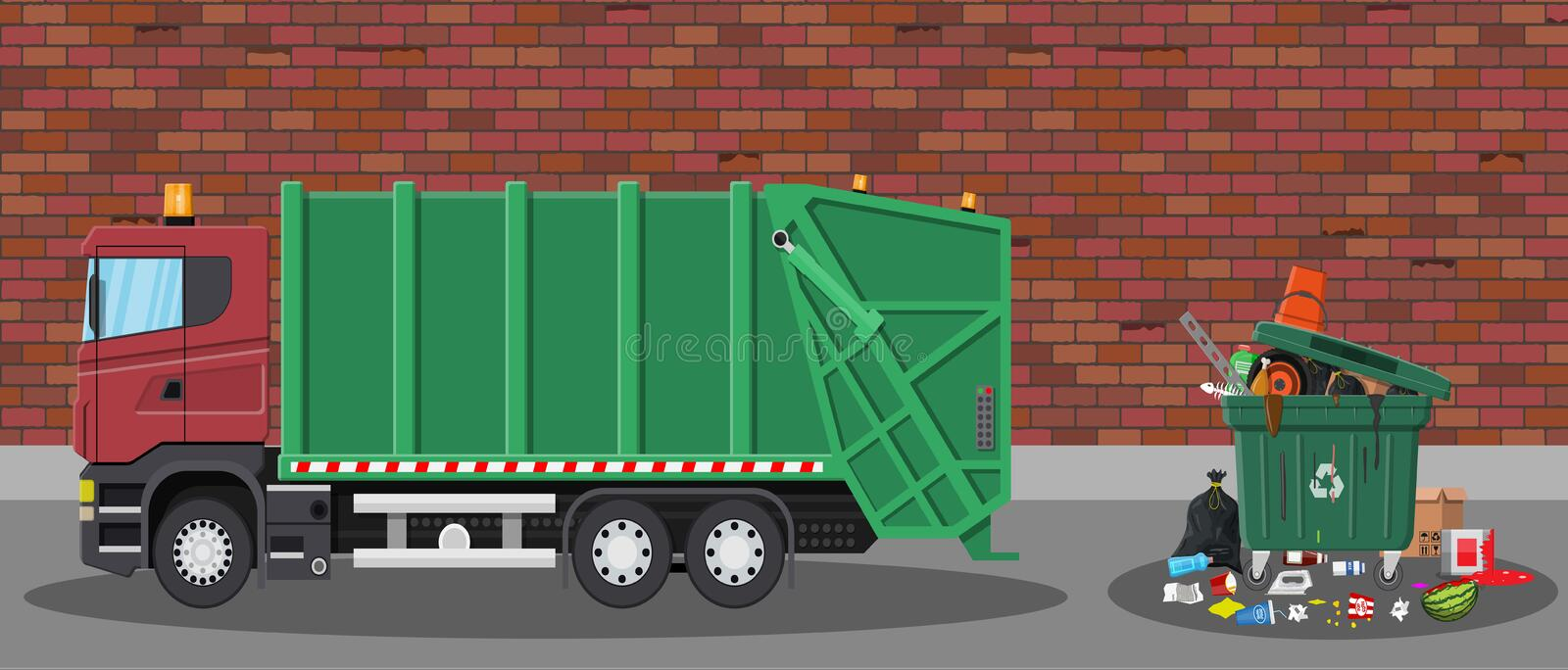 Garbage car and trash. Truck for assembling and transportation garbage. Car waste disposal. Can container, bag and bucket for garbage. Recycling and utilization royalty free illustration