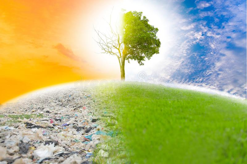 Garbage causes global warming if we do not help save the world. Next, the refreshing color will not be. royalty free stock photos