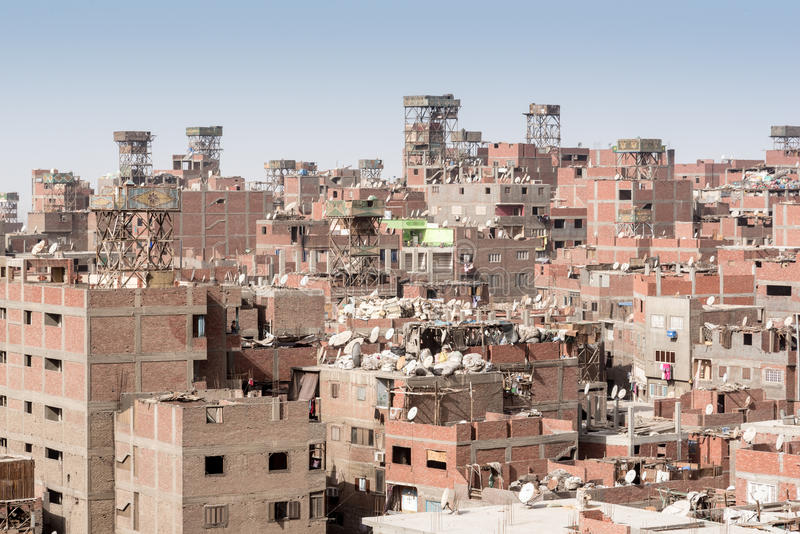 Garbage City Rooftops Zabbaleen settlement Manshiyat Naser Cairo Egypt. The rooftops of Garbage City. The Garbage City quarter which is a slum settlement at the royalty free stock photos
