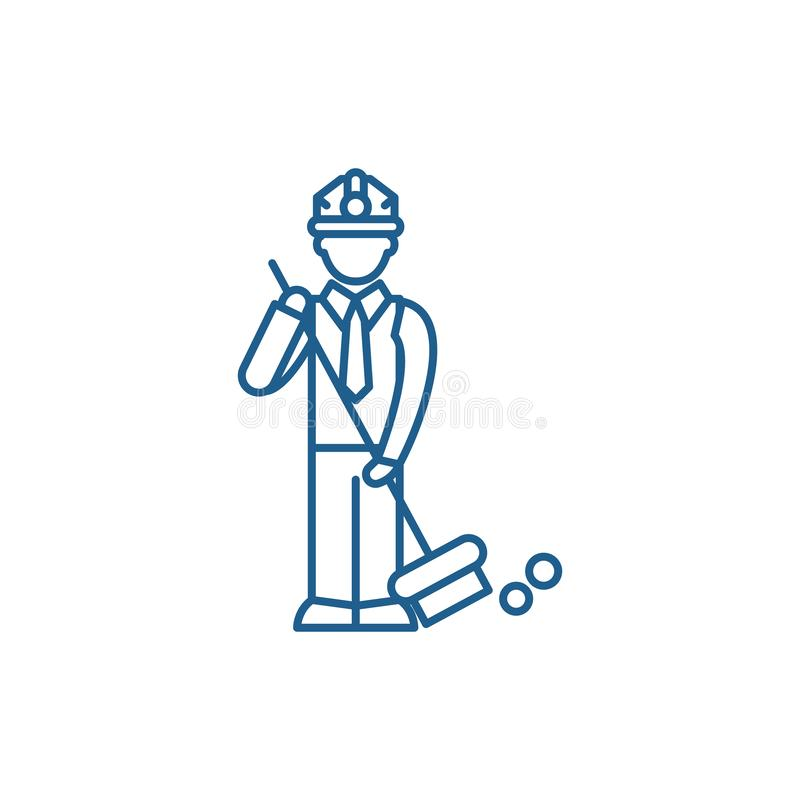 Garbage collection line icon concept. Garbage collection flat  vector symbol, sign, outline illustration. stock illustration