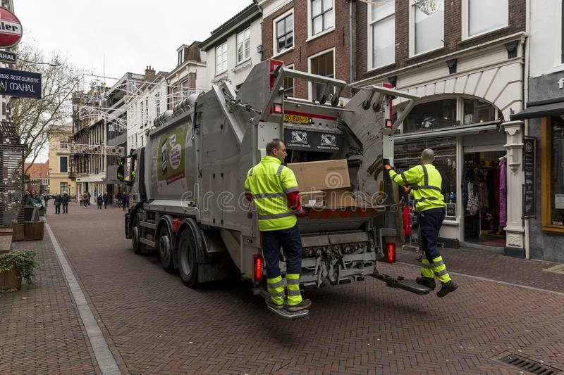 Garbage collection in Utrecht, Netherlands royalty free stock photography