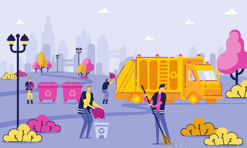 Garbage Collection Workers Clean Park Cartoon Flat stock illustration