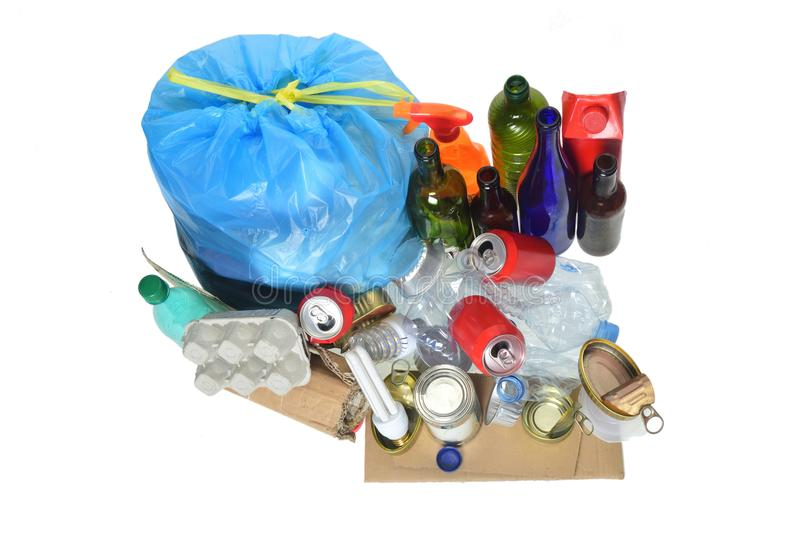 garbage consisting of cans, plastic bottles, glass bottle, carton, tetrabrik, cans and bulb stock photos