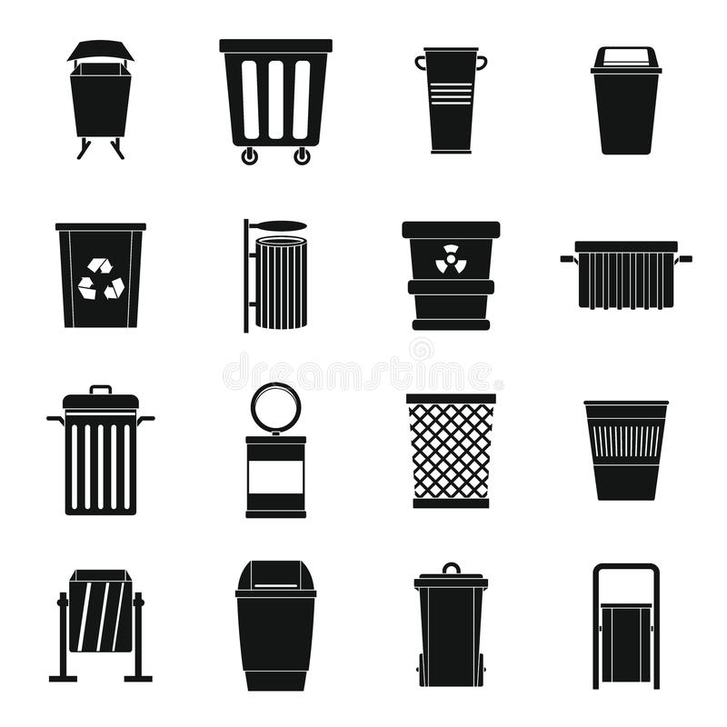 Garbage container icons set, simple style. Garbage container icons set. Simple illustration of 16 garbage container vector icons for web royalty free illustration