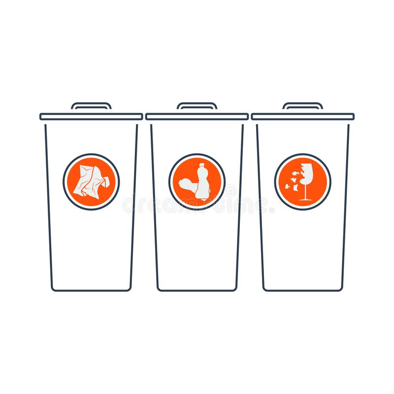 Garbage Containers With Separated Trash Icon. Thin Line With Red Fill Design. Vector Illustration royalty free illustration