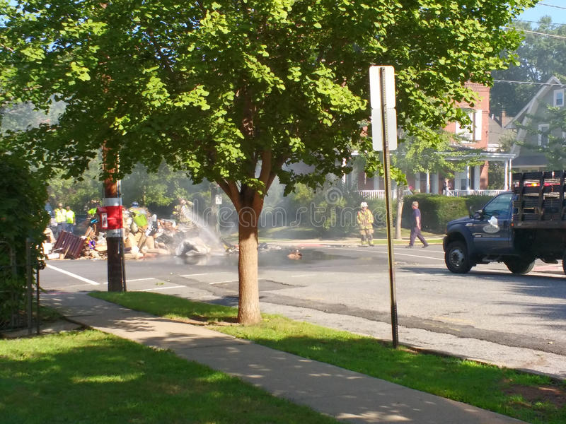 Garbage Fire in Rutherford, NJ, USA royalty free stock image