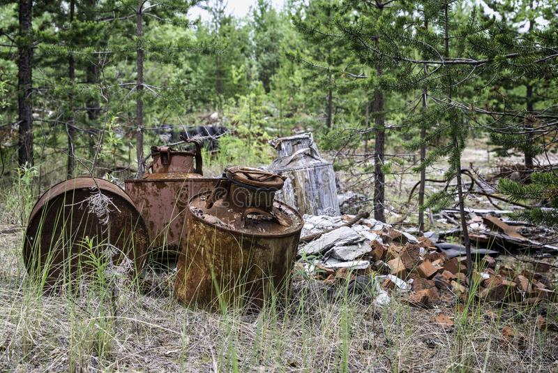 Garbage in the forest. royalty free stock photography