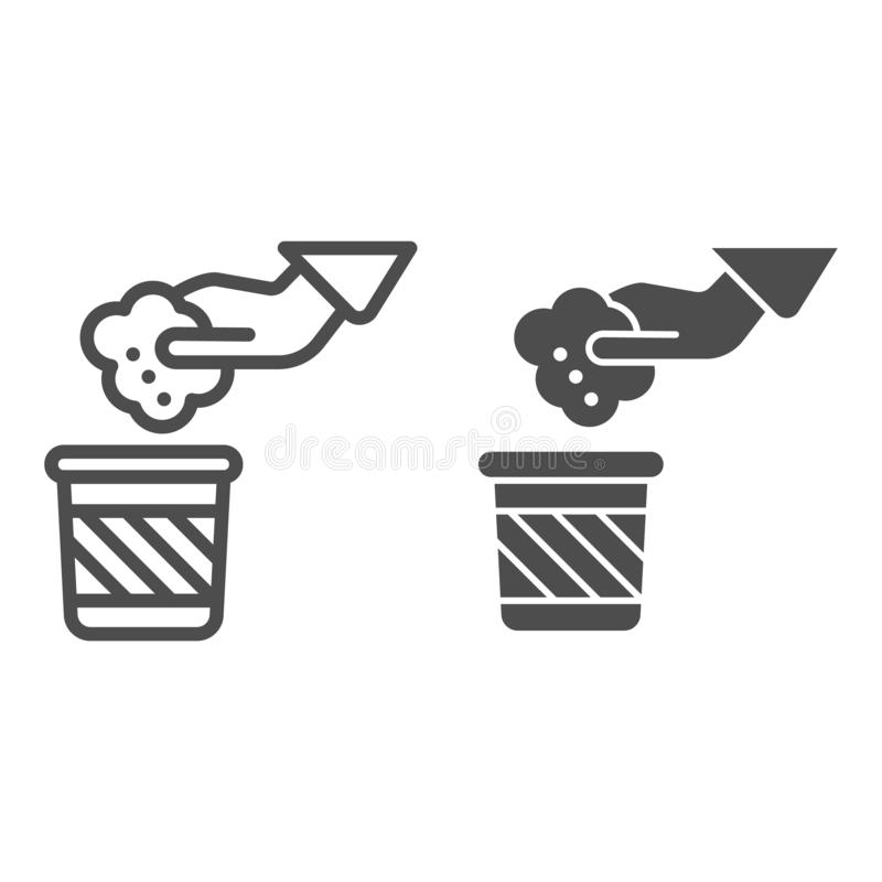 Garbage and hand line and glyph icon. Hand and trash vector illustration isolated on white. Throwing waste outline style vector illustration