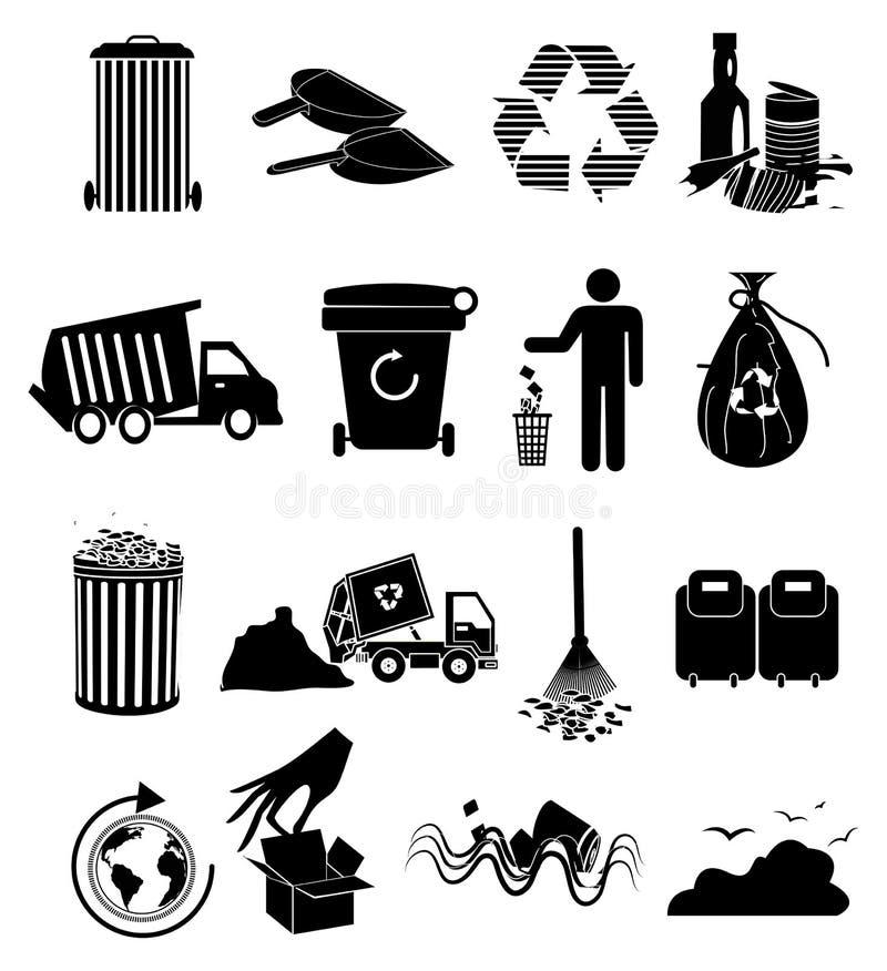 Garbage icons set. In black stock illustration
