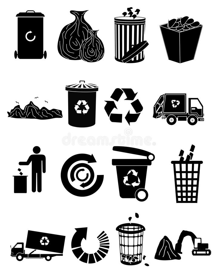 Garbage icons set. Vector black garbage icons set vector illustration