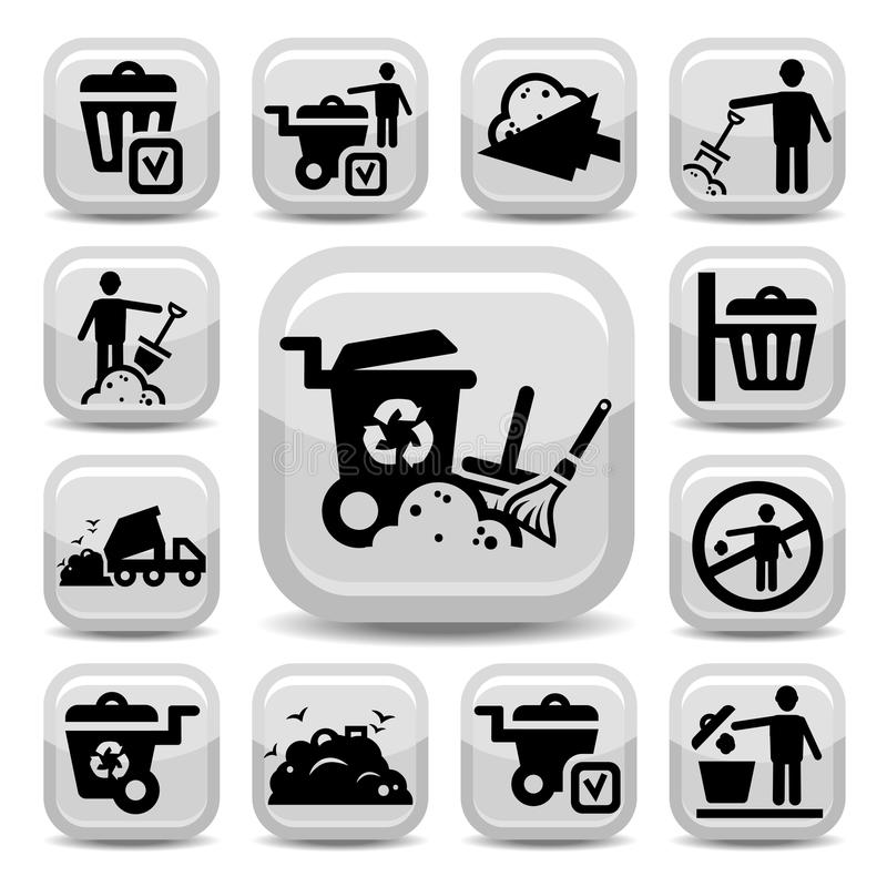 Garbage icons set. Vector Garbage And Cleaning Icons Set Created For Mobile, Web And Applications royalty free illustration