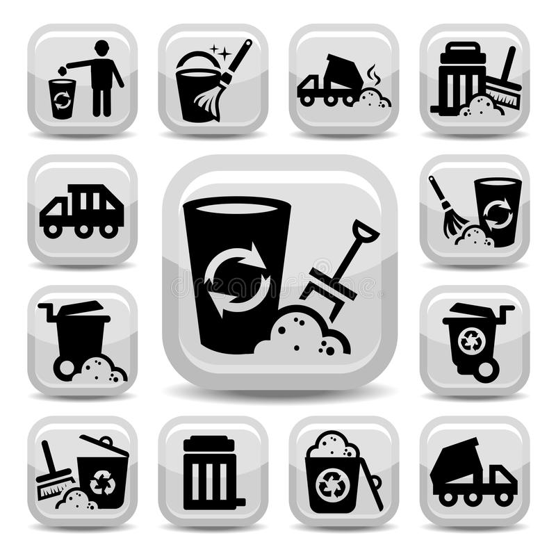 Garbage icons. Vector Garbage And Cleaning Icons Set Created For Mobile, Web And Applications royalty free illustration