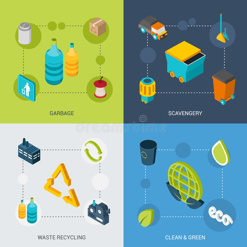 Garbage Isometric Set royalty free illustration