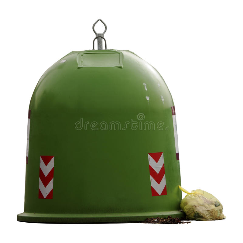 Garbage. Italian bell container (Rome). Plastic and glass. On white stock photos