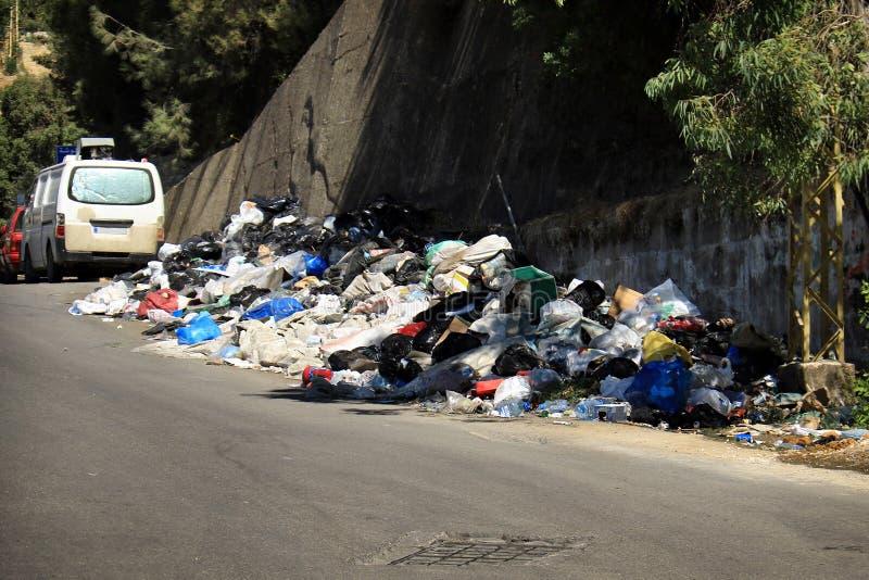 Garbage in Lebanon royalty free stock image