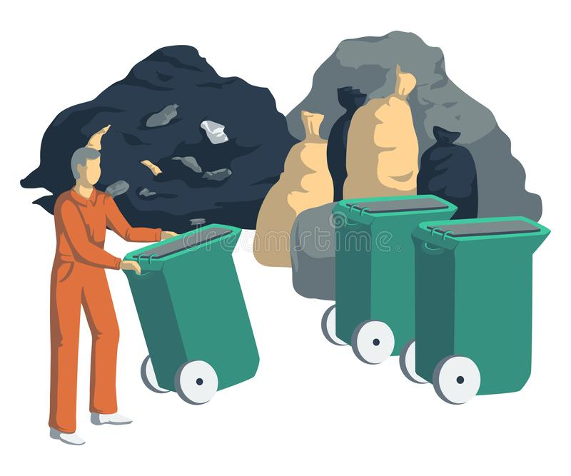 Garbage man with bags, cans, bins, containers and pile of trash. Isolated objects on white background. Garbage recycling concept. stock illustration