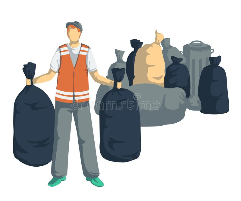 Garbage man with bags, cans, bins, containers of trash. Isolated objects on white background. Garbage recycling concept. royalty free illustration