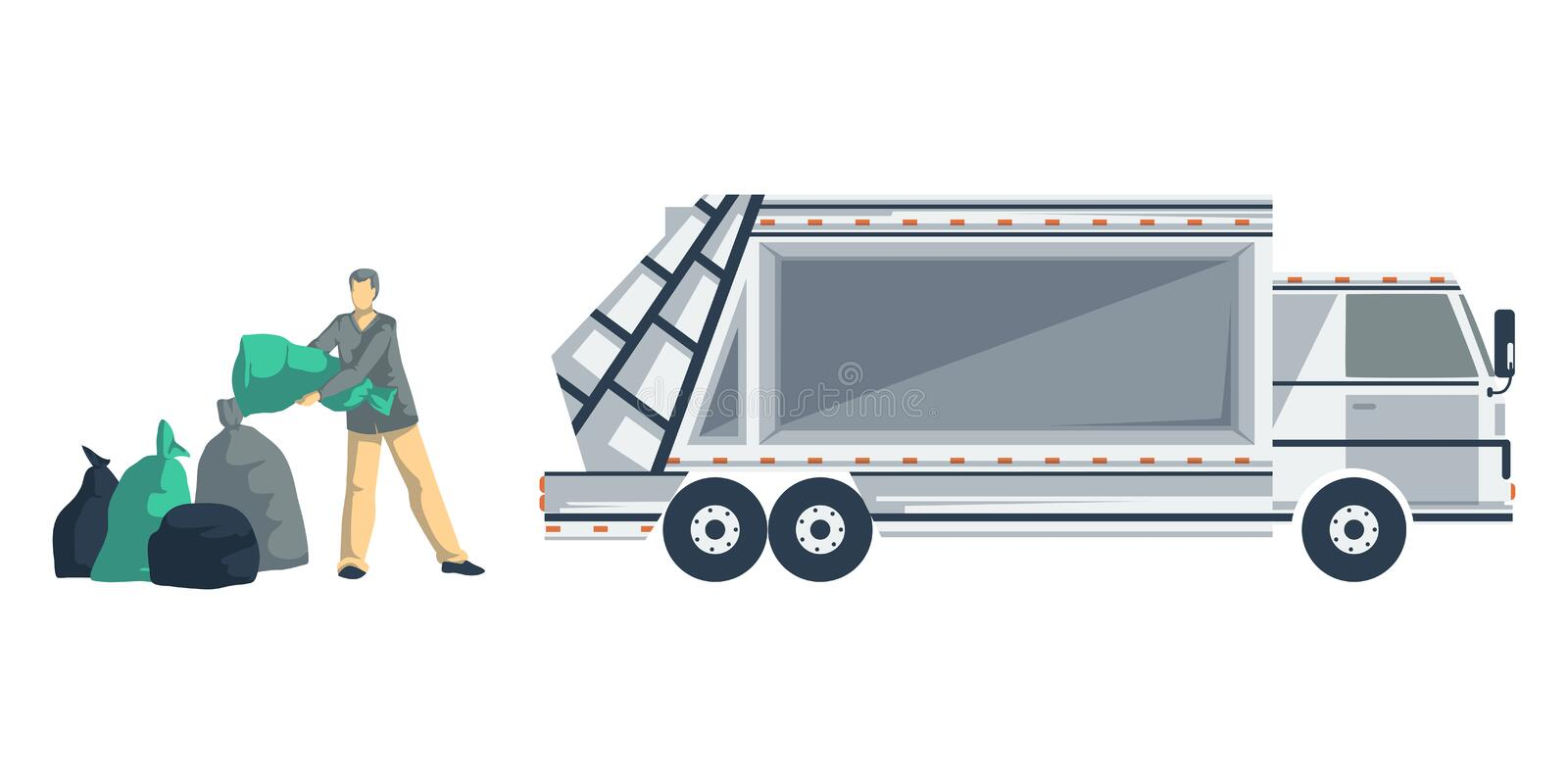 Garbage man loading trash bags to the garbage truck. Isolated objects on white background. Garbage recycling concept. stock illustration