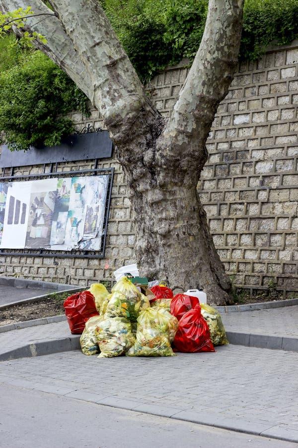 Free Garbage Mountains In Bags Royalty Free Stock Image - 92371856