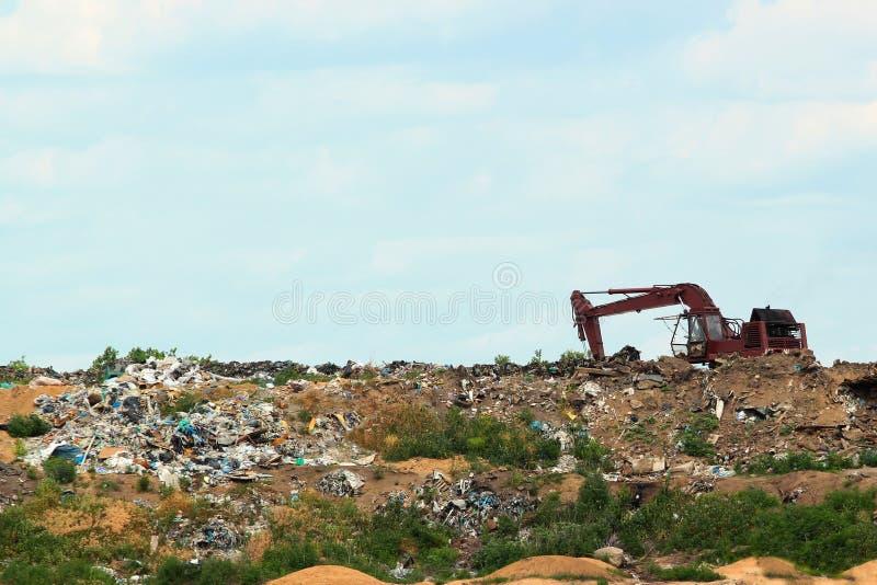 Garbage pile in trash dump or landfill. stock image