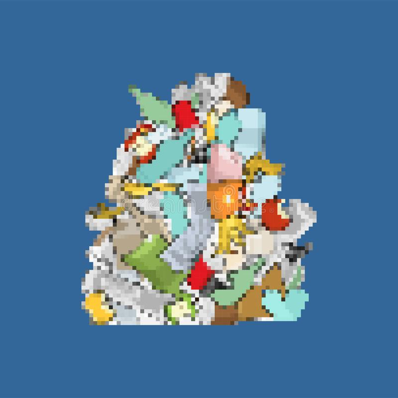 Garbage pixel art. 8bit Pile Rubbish. Stack trash. litter background. peel from banana and stub. Tin and old newspaper. Bone and vector illustration