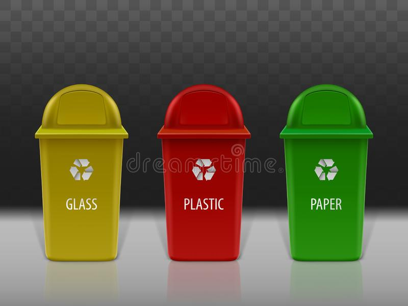 Garbage recycling containers set, eco litter bins. royalty free illustration