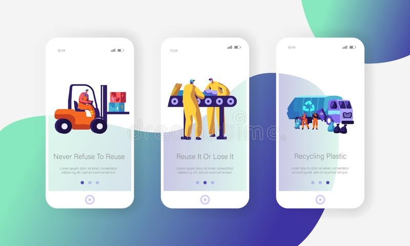 Garbage Recycling Eco Concept. Workers Collect Litter to Truck, Forklift. Metallurgy Factory Working Process Mobile App Page. Onboard Screen Set for Website or stock illustration