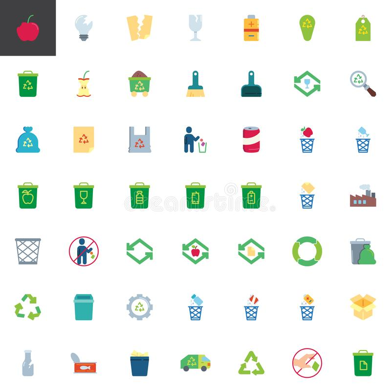 Garbage recycling elements collection. Flat icons set, Colorful symbols pack contains - organic food waste, garbage bag, battery utilization, trash container royalty free illustration