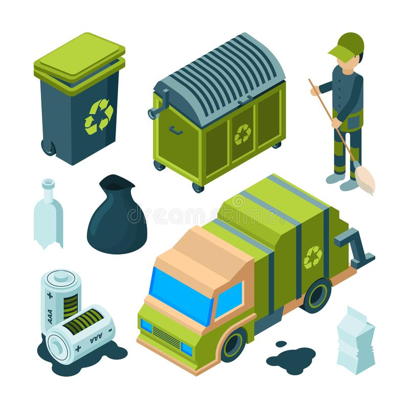 Garbage recycling isometric. City cleaning service truck urban incinerator utility bin with waste vector 3d collection stock illustration