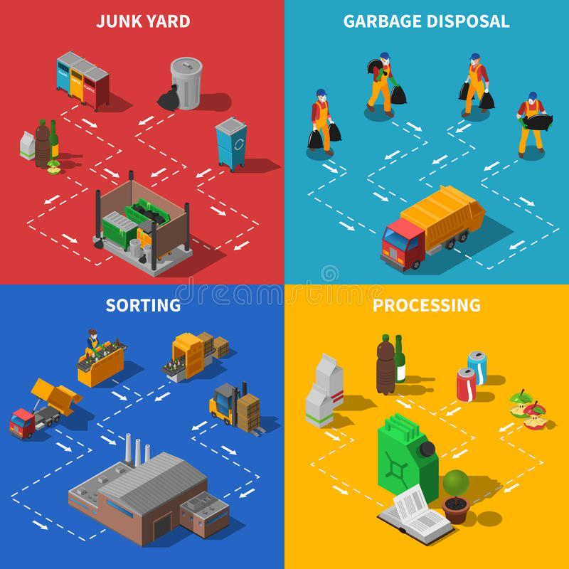 Garbage Recycling Isometric Concept Icons Set royalty free illustration