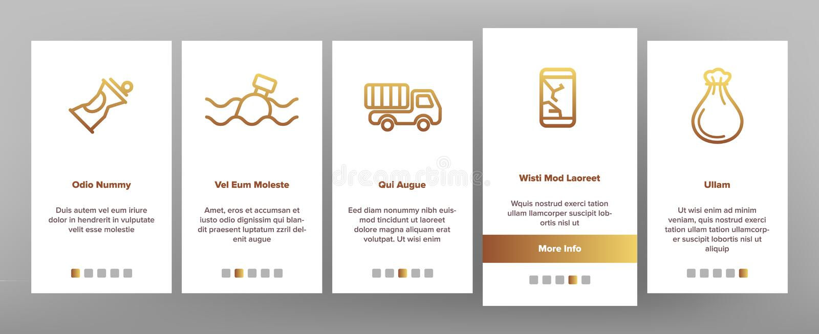 Garbage Recycling Linear Vector Onboarding royalty free illustration