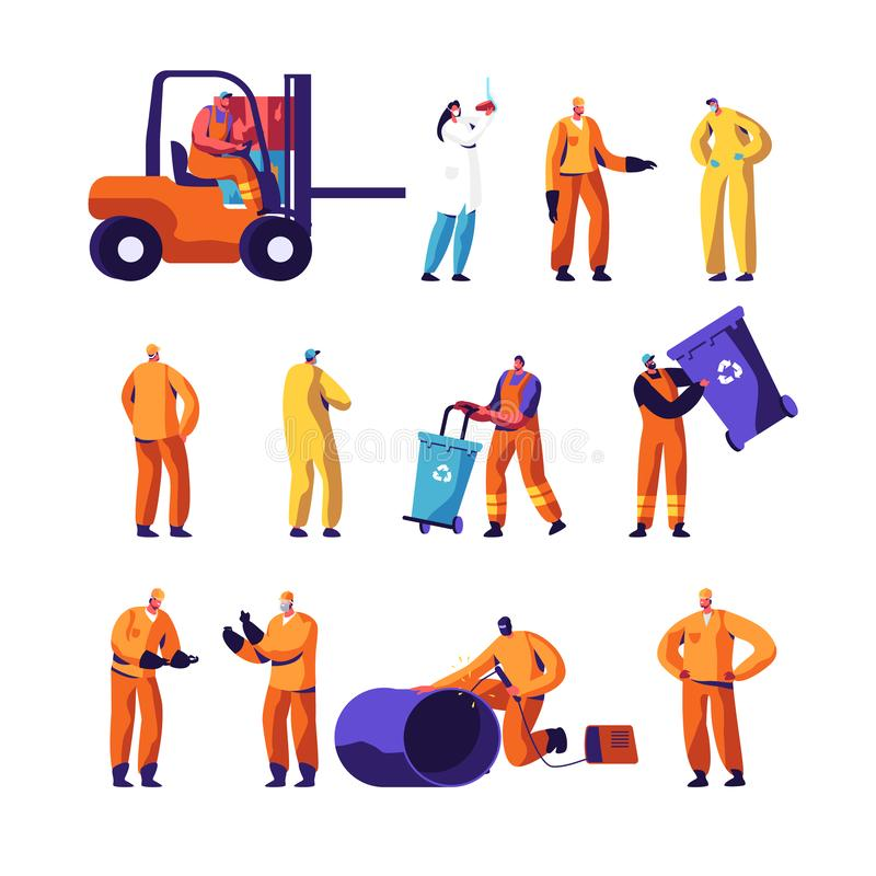 Garbage Recycling and Metallurgy Factory Workers Set. Ecology Protection and Pollution Industry Employees, Welder. Scavengers Collect Litter, Scientist with vector illustration