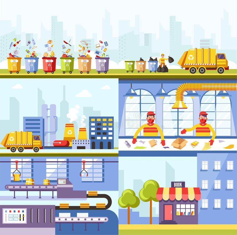 Garbage recycling plant and waste utilization process. Vector garbage truck, workers on sorting conveyor to recycle in eco products of paper industry royalty free illustration