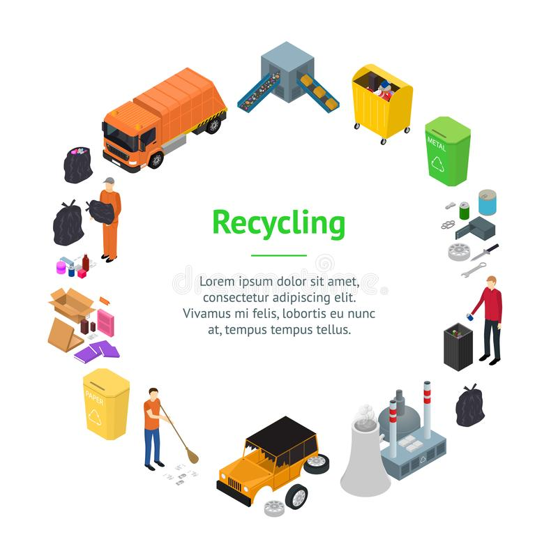 Garbage Recycling Signs 3d Banner Card Circle Isometric View. Vector. Garbage Recycling Signs 3d Banner Card Circle Isometric View Include of Bin, Trash, Truck vector illustration