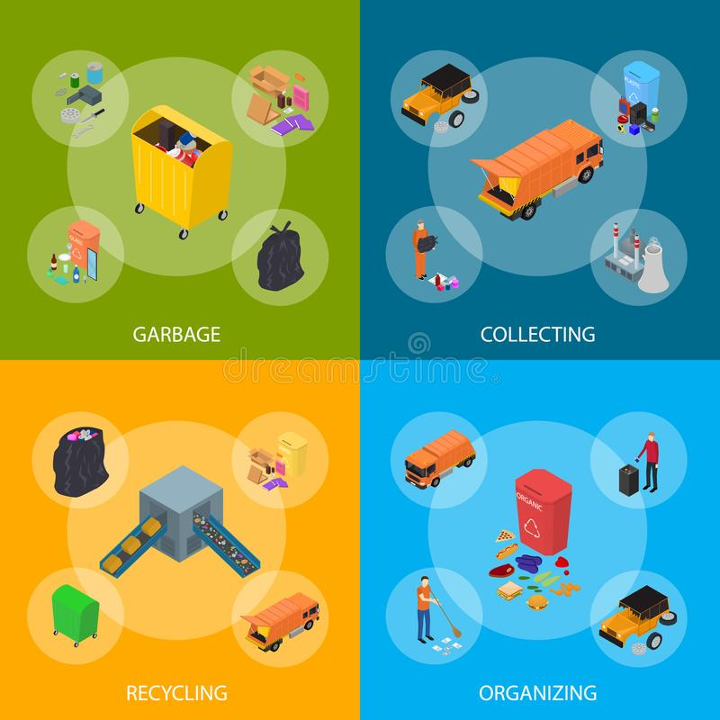 Garbage Recycling Signs 3d Banner Set Isometric View. Vector. Garbage Recycling Signs 3d Banner Set Isometric View Include of Bin, Trash, Truck and Factory stock illustration